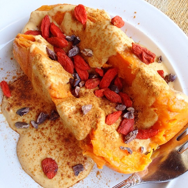 Same maple peanut fluff and toppings as the banana split above - but on a traditional sweet potato! #sweetpotatosplit