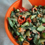Kale and Mint Salad with a Spicy Tahini Dressing