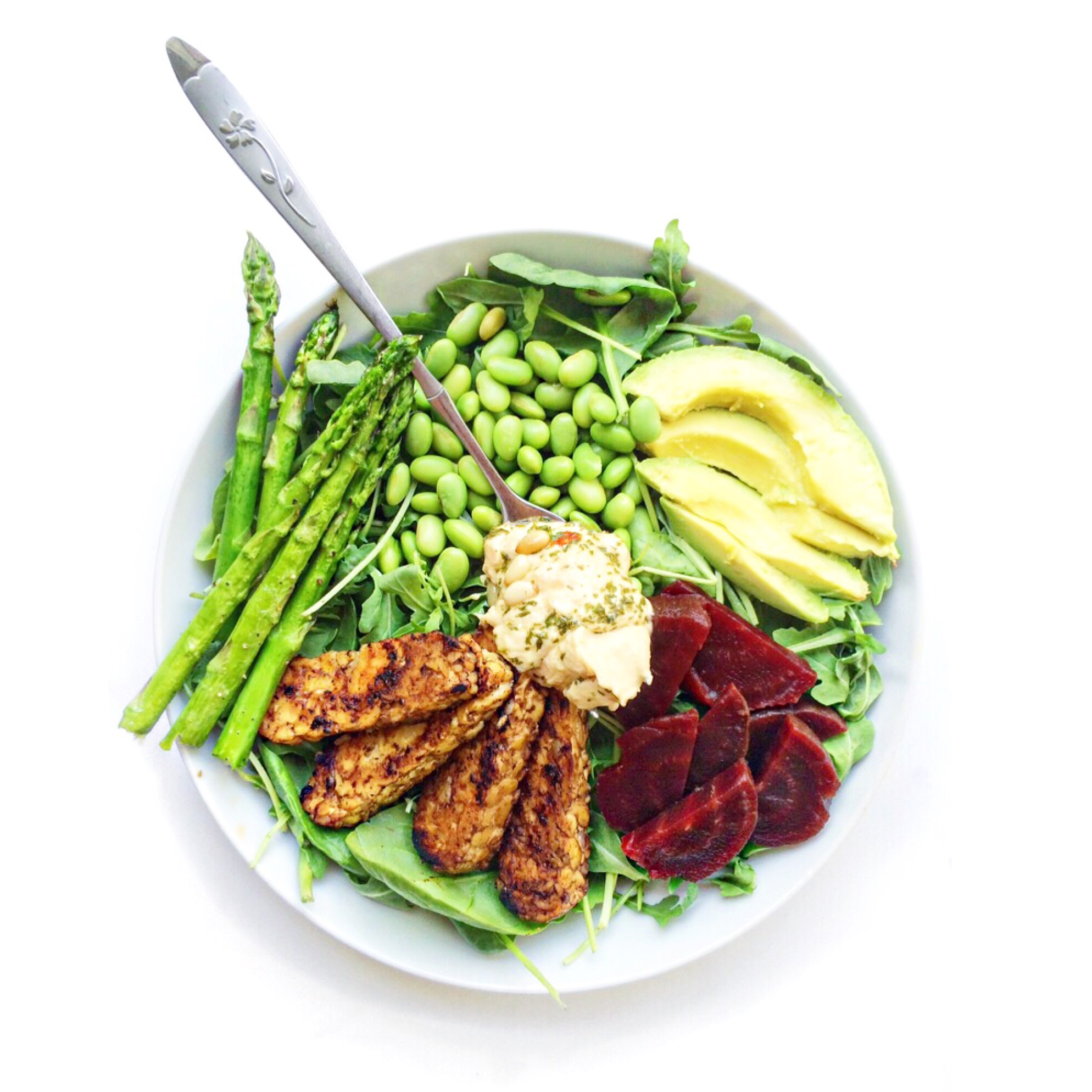 ... roasted beets + asparagus + avocado + edamame + Trader Joe's